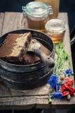 为养蜂业的古色古香的工具在车间用蜂蜜 库存图片