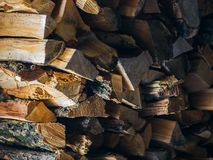 为冬天做准备和做冷的季节取暖器概念:堆木柴作为自然本底的一种图表资源 库存图片