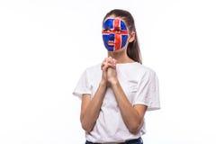 为冰岛祈祷 冰岛人的足球迷为比赛冰岛国家队祈祷 库存照片