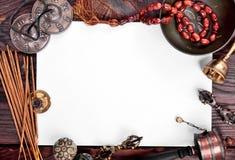 为凝思和放松的西藏乐器 图库摄影