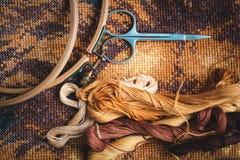 为刺绣,完成的工作,十字绣设置 免版税库存图片
