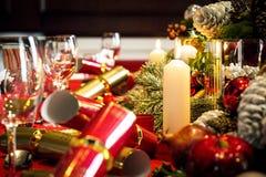 为午餐布置的圣诞节桌 图库摄影