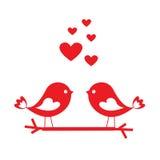 为华伦泰` s天爱与红色心脏-卡片的鸟 向量例证