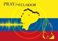 为厄瓜多尔祈祷 救援行动或支持地震受害者概念海报 图库摄影