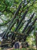 为发射准备的防空导弹 免版税库存照片