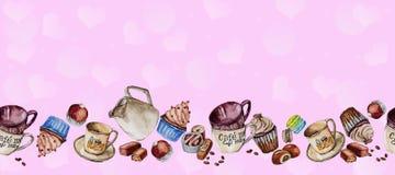 为咖啡和甜点设置的水彩图画 免版税库存图片