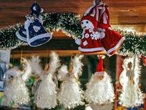 为圣诞节做的多种装饰 免版税库存图片