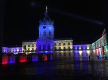 为圣诞节照亮的柏林夏洛登堡城堡 免版税库存图片