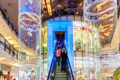 为圣诞节装饰的钯购物中心 免版税库存照片