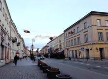 为圣诞节装饰的Nowy Swiat街道 库存图片
