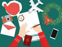 为在圣诞节的假日旅行做准备 图库摄影