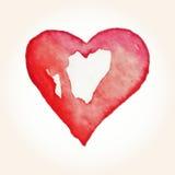 为在水彩样式的华伦泰s天导航心脏 在白色背景的手拉的各种各样的心脏 库存照片