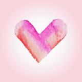 为在水彩样式的华伦泰s天导航心脏 在白色背景的手拉的各种各样的心脏 图库摄影