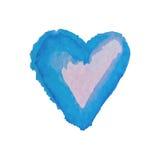 为在水彩样式的华伦泰s天导航心脏 被隔绝的手拉的心脏 免版税库存照片