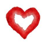 为在水彩样式的华伦泰s天导航心脏 被隔绝的手拉的心脏 免版税图库摄影