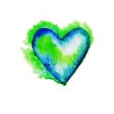 为在水彩样式的华伦泰s天导航心脏 免版税库存照片