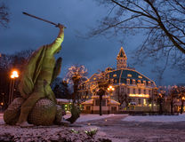 为在jurmala的圣诞节装饰的房子的看法 免版税库存照片