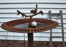 为复活节彩蛋狩猎掩藏的鸡蛋特写镜头在鸟浴在后院 免版税图库摄影