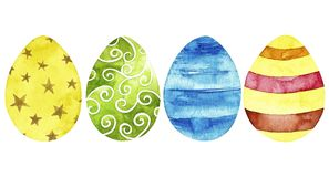 为复活节快乐设置的水彩鸡蛋 库存例证