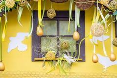 为复活节装饰的窗口 免版税库存照片