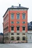 为大臣花样滑冰外一周半跳建造的红色和被装饰的宫殿Oxenstierna在斯德哥尔摩 库存照片