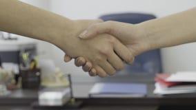为女商人,在办公家具背景的伙伴握手关闭  为妇女典雅的握手关闭  股票视频