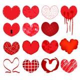 为婚姻和华伦泰设计设置的传染媒介心脏 免版税库存照片