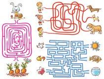 为学龄前儿童设置的迷宫比赛:发现方式或匹配元素 库存例证