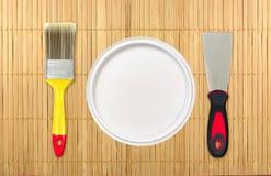 为家庭整修的绘画工具 创造性的照片 免版税库存图片