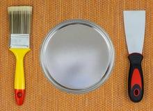 为家庭整修的绘画工具 免版税库存图片