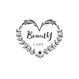 为小企业-秀丽关心沙龙证章 贴纸,邮票,商标-设计的,做的手 使用花卉 库存图片