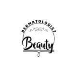 为小企业-美容院皮肤病学家贴纸,邮票,商标证章-设计的,做的手 使用 库存图片