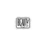 为小企业-美容院治疗师贴纸,邮票,商标证章-设计的,做的手 使用 免版税图库摄影