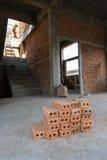 为工业使用的砖块在居民住房 库存照片