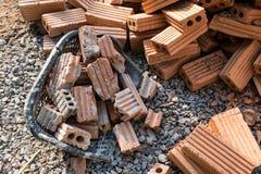 为工业使用的砖块在居民住房 图库摄影