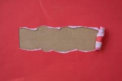 为工艺撕毁的红色纸 库存照片