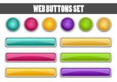 为您的设计设置的网按钮 库存照片