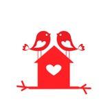为情人节爱逗人喜爱的鸟和鸟舍-卡片 皇族释放例证