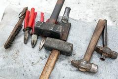 为手工伪造的金属的工具 锻工工具 库存照片