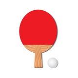 为打乒乓球设置 红色球拍和乒乓球 库存图片