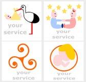 为接生婆服务设置的商标 免版税库存照片