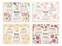 为新年快乐设置的逐年日历2016年 库存图片