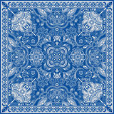 为方形的口袋,披肩,纺织品设计 佩兹利花卉样式 免版税库存照片