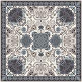 为方形的口袋,披肩,纺织品设计 佩兹利花卉样式 免版税库存图片