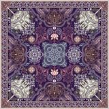 为方形的口袋,披肩,纺织品设计 佩兹利花卉样式 库存图片