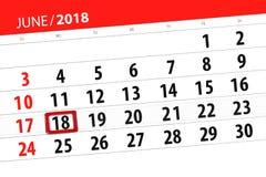 为月排进日程计划者,最后期限星期,星期一, 6月2018 18日 免版税库存图片