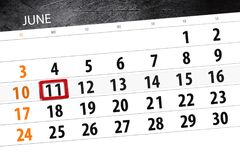 为月排进日程计划者,最后期限星期,星期一, 6月2018 11日 免版税库存图片