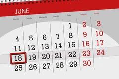 为月排进日程计划者,最后期限星期,星期一, 6月2018 18日 免版税库存照片