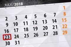 为月排进日程计划者,最后期限星期,星期一, 7月2018 23日 库存图片
