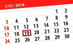 为月排进日程计划者,最后期限星期,星期二, 6月2018 19日 免版税图库摄影